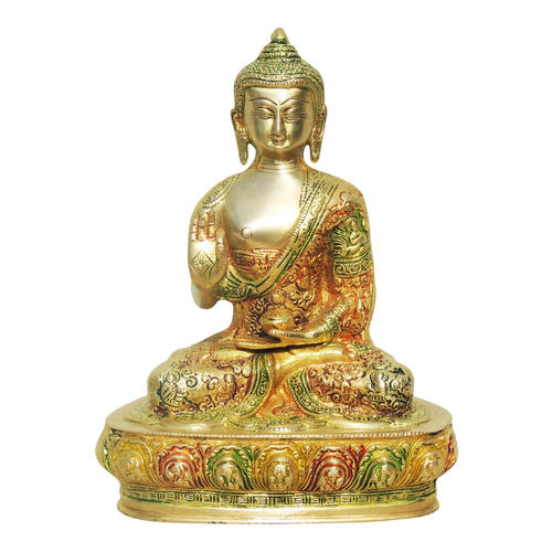 Brass Buddha Statue Murti Idol In Multicolour Lacquer Finish - 8*4*10 Inch  (BS660 A)