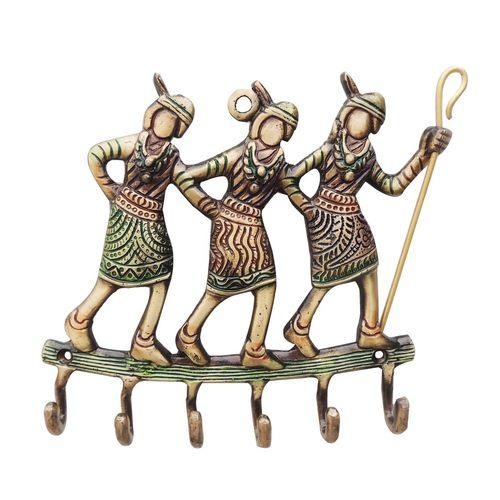 Brass Tribal Key Holder 6 Key Holder - 6.7*1*6.5 Inch  (BS977 B)