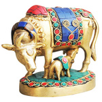 Brass Cow With Calf Gaye Bacdha with Turquoise Coral stone work- 5.52.54 Inch  BS982 A
