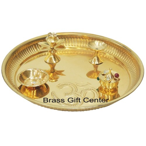 Brass Puja Pooja Thali With attached deepak roli and rice holder and Agarbatti Stand - 8 inch (Z003/8)