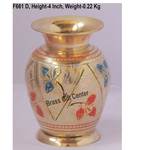 Brass Flower Vase pot with Handwork - 3*3*4 Inch  (F661 D)