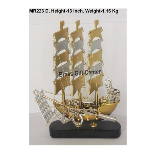 Brass And Aluminium Ship In Gold And Nickel finish With Wooden Base - 9.5x2.5x11 Inch  MR223 D