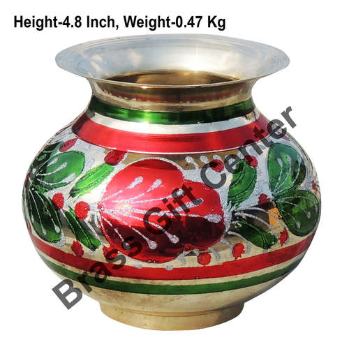 Brass Matki Lota Coloured - 5.4*4.4*4.8 Inch  (Z152 E)