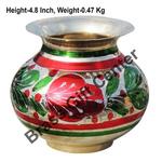Brass Matki Lota Coloured - 5.4*4.4*4.8 Inch  (Z152 E)
