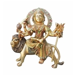 Brass Durgaji Murti Statue idol with Multicolour Lacquer finish - 12.7*5*14.5 inch  (BS937 E)