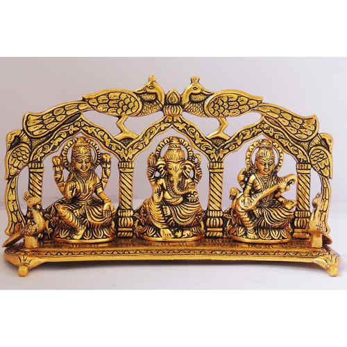 Laxmi Ganesh Saraswati LGS Statue Murti Idol In Gold Antique Finish 11x2.5x6 Inch AS297 G