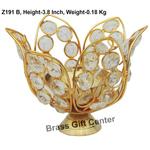 Brass Diya Deepak with Crystal Beads No. 2 - 5.5*5.5*3.8 inch  (Z191 B)