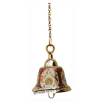 Brass Temple Bell With Handicraft Colour  5 Inch F511 A
