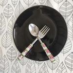 Ceramic Lotus Pink and Green Spoons