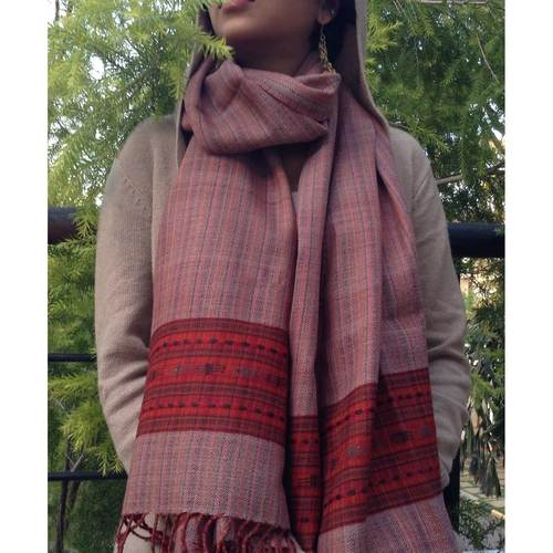 Pink And Blue Hue Woolen Scarf