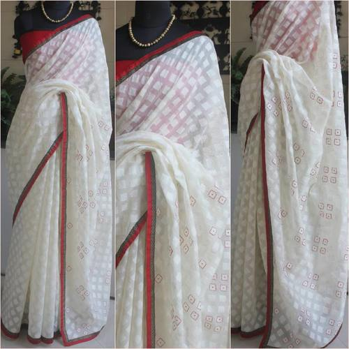 Gorgeous White Chanderi With Self Print