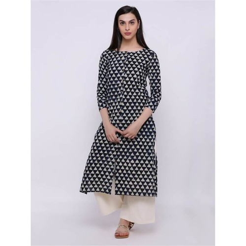 Round neck all over print black and white kurta