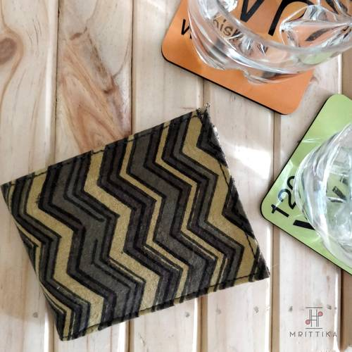 Prithu grey and yellow zigzag wallet