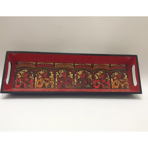 Red And Black King Motif Decoupage Tray