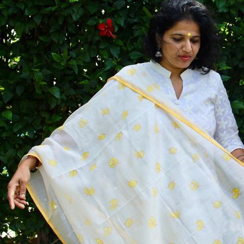 Yellow Floral Frolic Dupatta