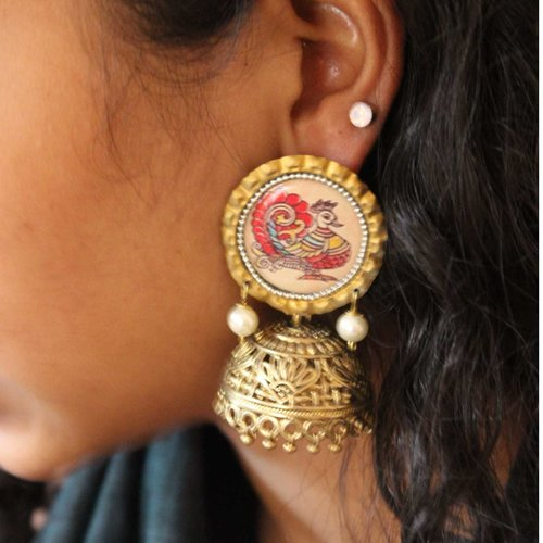 Red And White Peacock Jhumkas