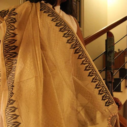 Off White And Black Chanderi Dupatta