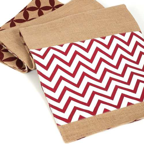 Maroon Pattern Jute Reversible runner