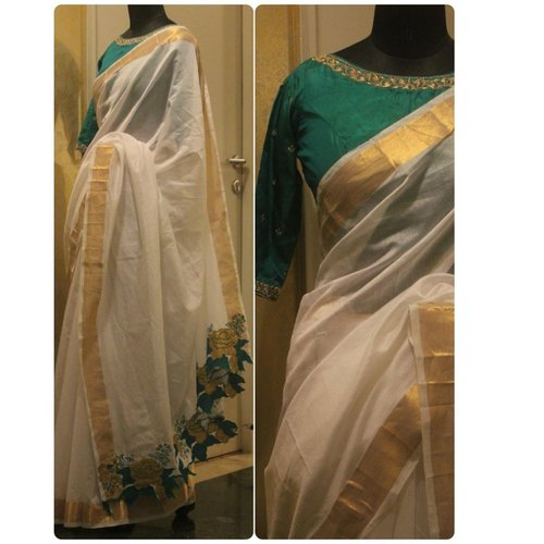 White Chanderi with Zari Border And Cut Work Pallu