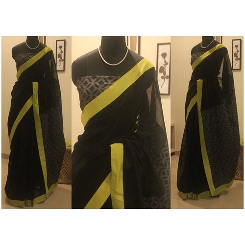 Black Chanderi And Jacquard Pallu
