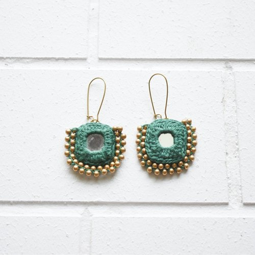 Beaded Square Earrings - Green