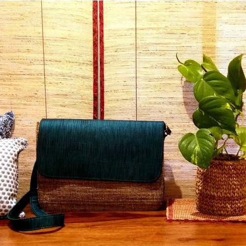 No Blues in My Life Sling Bag in Banana Fibre