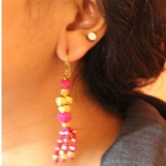 Dhokra Jewellery Danglers Pink and Gold