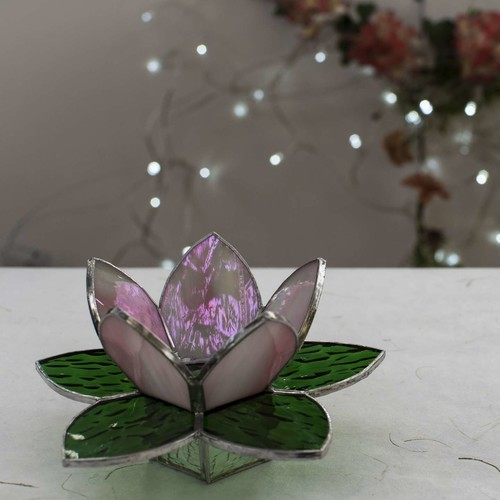 Lotus Tea Light Holder - Iridescent