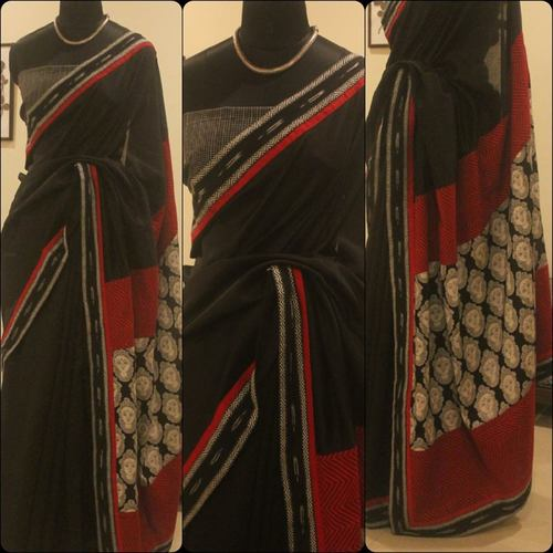 Black Chanderi With Printed Pallu
