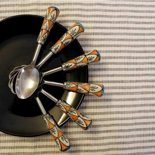 Ceramic Orange Black And White Spoons