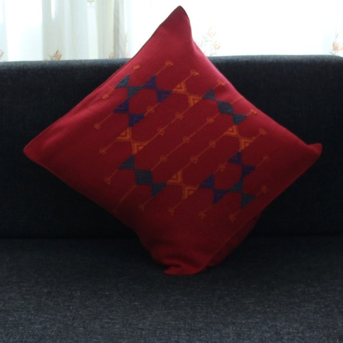 Red Pattu Cushion Cover - Rustic & Contemporary