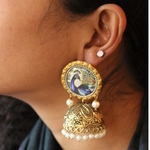 Peacock Jhumkas With Pearl