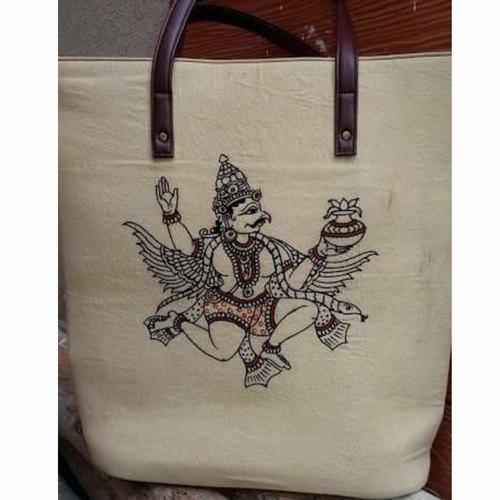 Hand drawn kalamkari print cloth bags