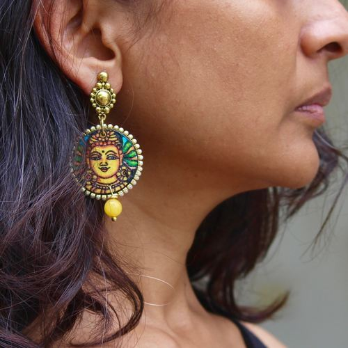 Bamboo Kerala Mural Art Earrings (Mustard)