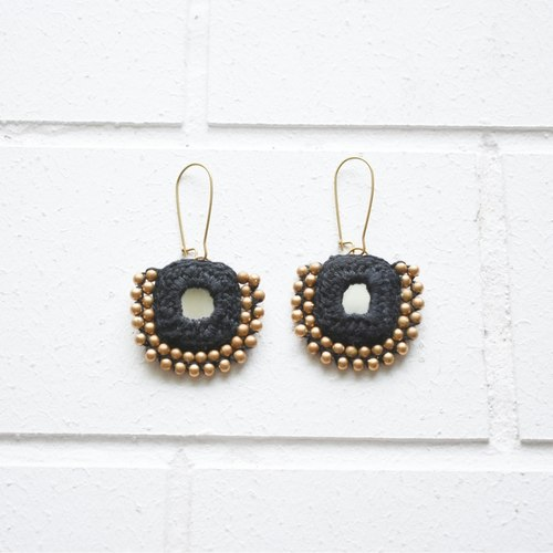 Beaded Square Earrings - Black