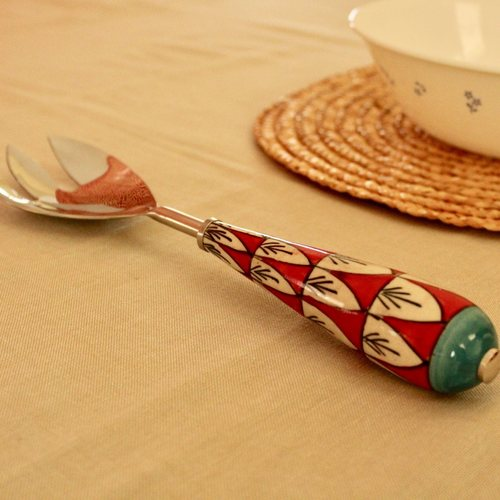 Red Scallop Ceramic Serving Spork