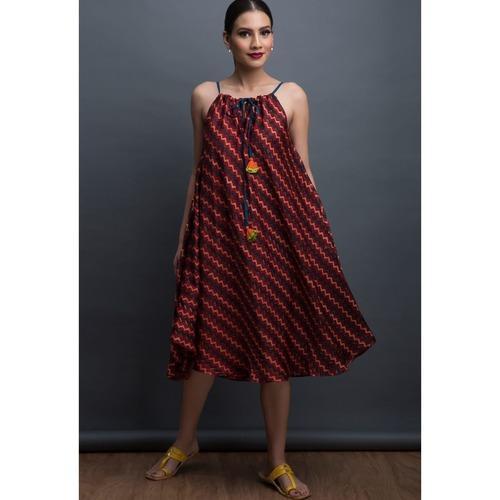 Red Earth & Chevron - Free Size Dress