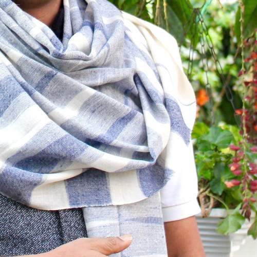 Blue Tones Ikat Pashmina Shawl