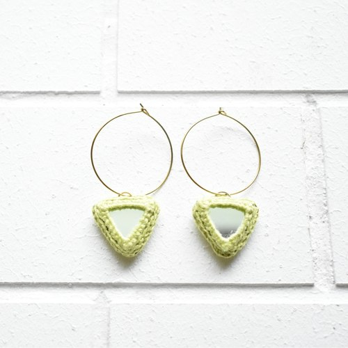 Abhla Triangle Earrings - Green