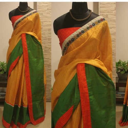 Green And Yellow Silk Saree With Orange Mantra Border