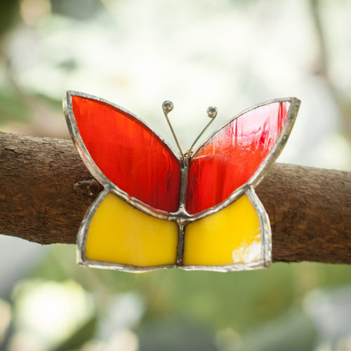Red+Yellow Butterfly Wrap Sun-Catcher