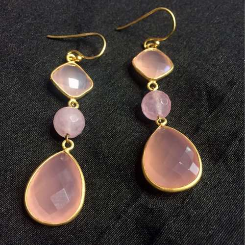 Shine In The Dark Rose Quartz Danglers