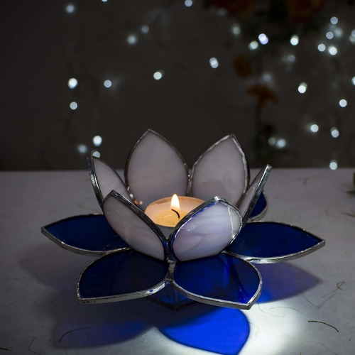 Lotus Tea Light Holder - Blue