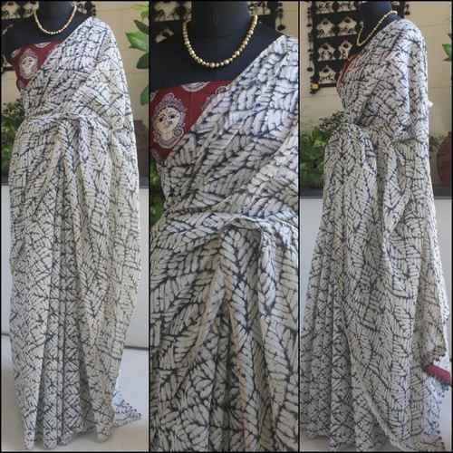 White Printed Chanderi Saree