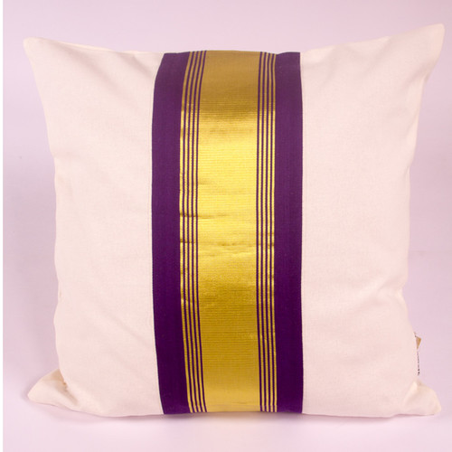 Mauve and Gold Striped Cushion