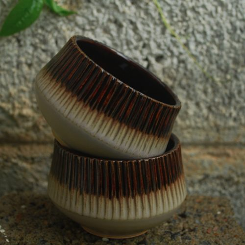 Ceramic Striped Bowl Brown