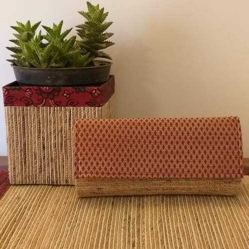 Diamond Red Banana Fibre Clutch