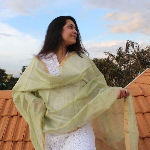 Mint Green Zari Chanderi Dupatta