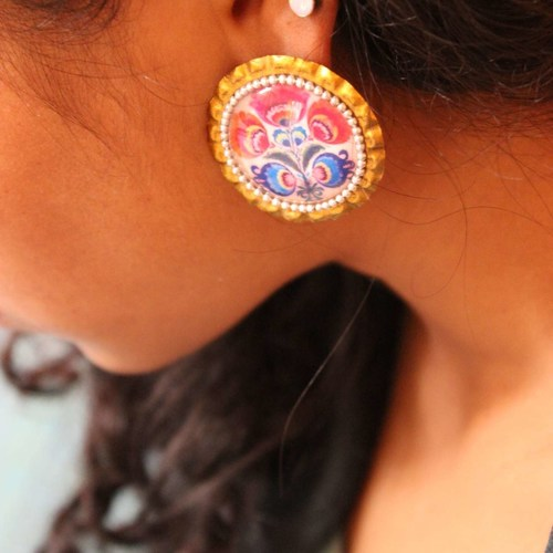 Red And Blue Bottle Cap Studs