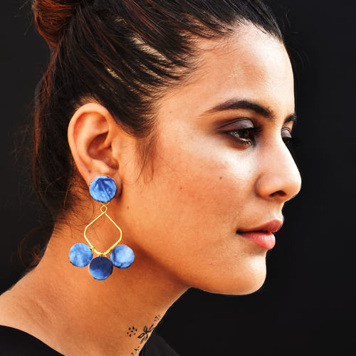 Leher Marble Dye Earrings - Blue
